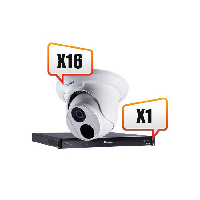 Комплект видеонаблюдения на склад 16 IP-камер высокого разрешения+ IP-видеорегистратор